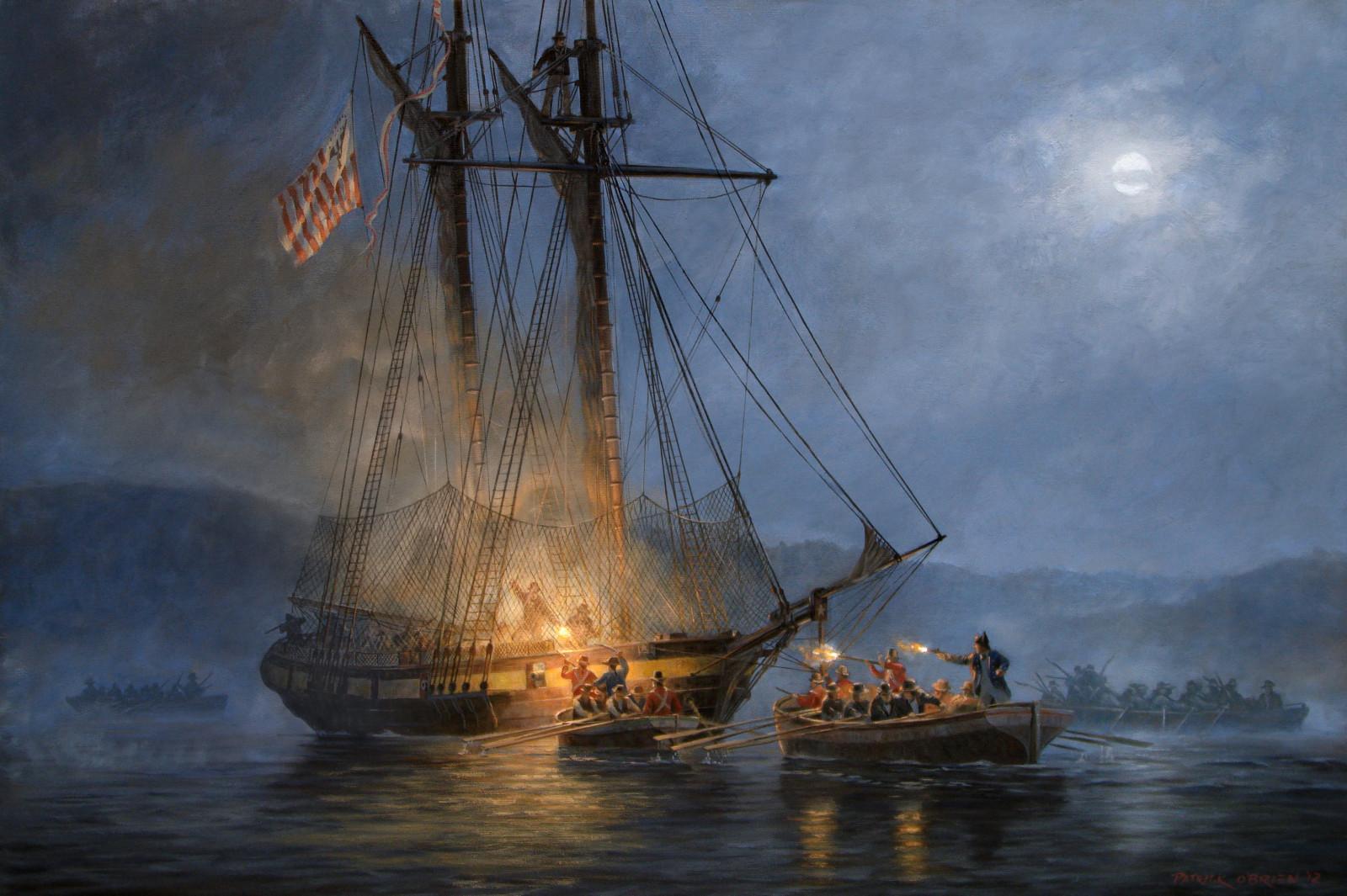 Barque corsaire attaque un navire anglais