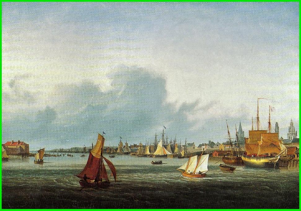 Calais par louis garneray bateaux dans le port 2