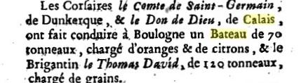 Corsaire calaisien le don de dieu 1757