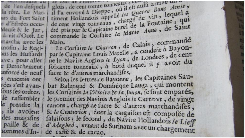 Corsaire le charron capitaine louis marelle la gazette du 20 avril 1748