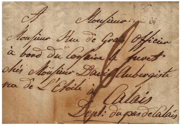 Lettre envoyee en 1810 au bateau corsaire le furet presentee par christian tetard